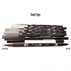 Tombow Dual Brush Pen Set - Grayscale class=