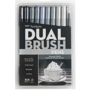 Tombow Dual Brush Pen Set - Grayscale