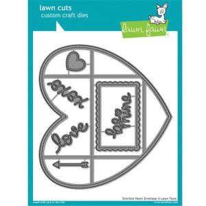 Lawn Fawn Stitched Heart Envelope Lawn Cuts
