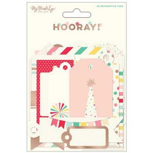 My Mind's Eye Hooray Decorative Tags with Rose Gold Accents class=