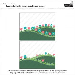 """<span style=""""color:red;"""">PREORDER</span> Lawn Fawn Flower Hillside Pop-Up Add On Lawn Cuts"""