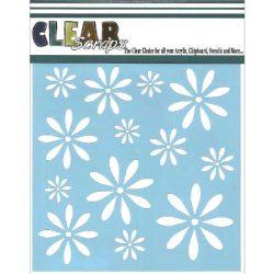 Clear Scraps Daisies Stencil