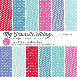 "My Favorite Things Hearts & Stripes Paper Pad - 6"" x 6"" class="