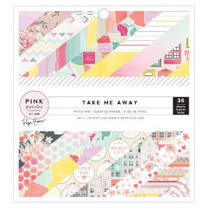 "Pink Paislee Take Me Away Single-Sided Paper Pad - 6"" X 6"" class="