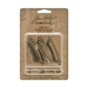 Tim Holtz Idea-Ology Metal Label Pulls W/Fasteners class=