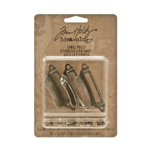 Tim Holtz Idea-Ology Metal Label Pulls W/Fasteners class=
