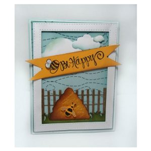 Impression Obsession Cover-a-Card Bee Stitch Background Stamp class=