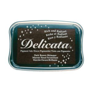 Delicata Pigment Ink Pad – Dark Brown Shimmer class=