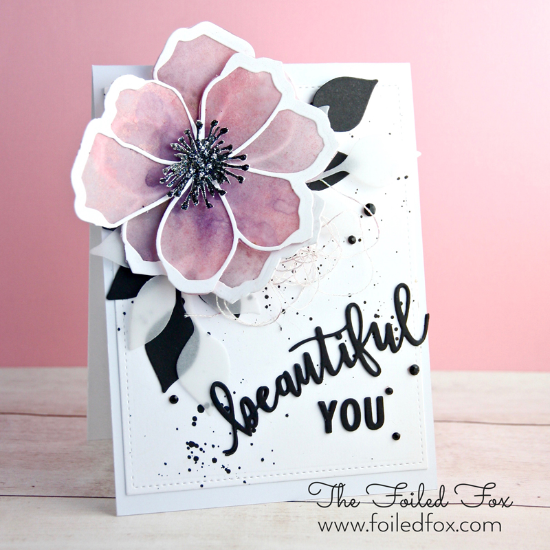 Beautiful You card using the Pretty Petals stamp and die set by Concord & 9th.