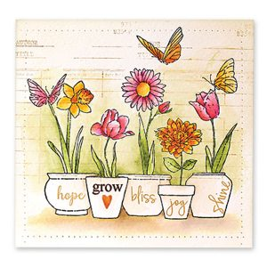 Penny Black Potted Flowers Stamp class=