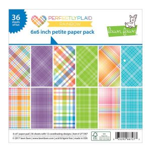 "Lawn Fawn Rainbow Perfectly Plaid Petite Pack - 6"" x 6"""
