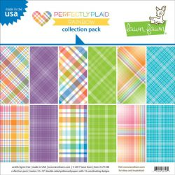 "Lawn Fawn Rainbow Perfectly Plaid Collection Pack - 12"" x 12"""