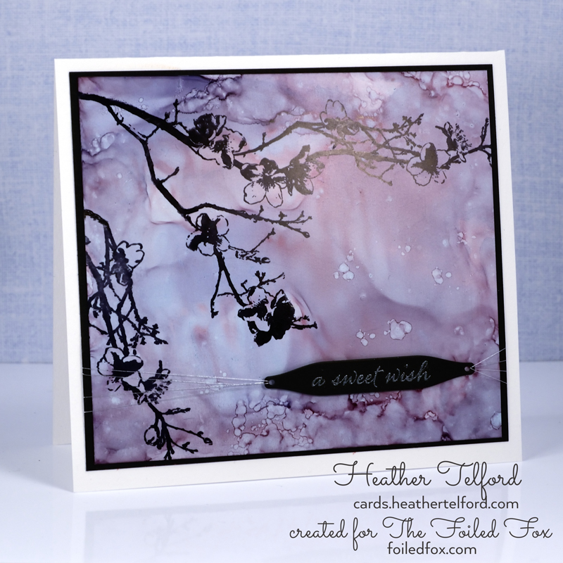 Blossom Silhouette card by Heather Telford, using the Penny Black Moment in Time stamp.