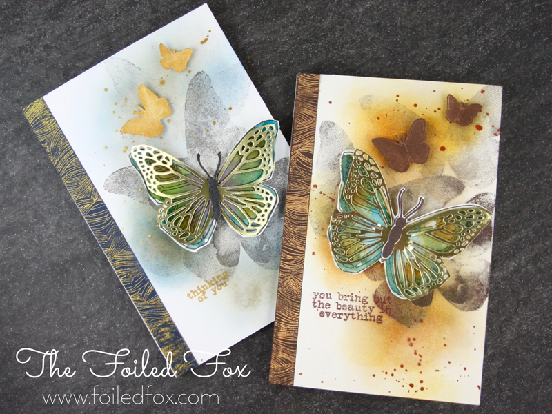 Butterfly Duo cards using Concord & 9th stamps and dies. Created by The Foiled Fox