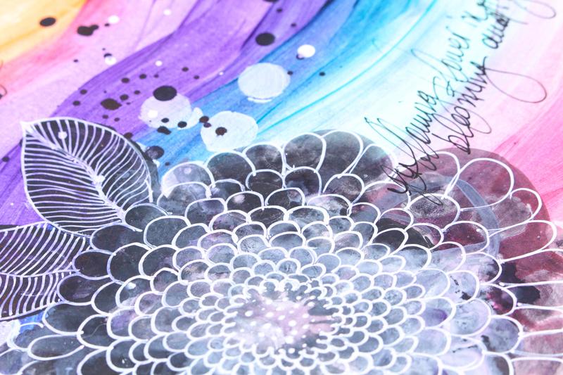 Color Burst & Stencil with Zinia