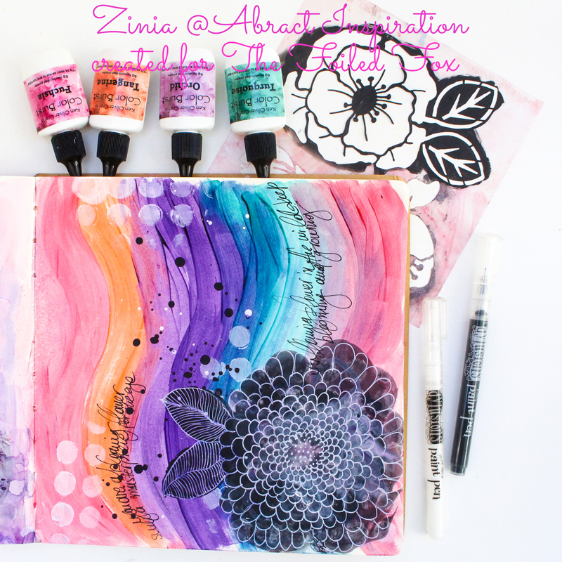 Color Burst & Stencil Fun with Zinia