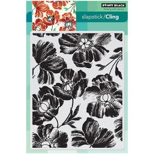 Penny Black Poppy Pattern Background Stamp