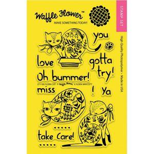 Waffle Flower Flora Cat Stamp Set