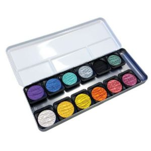 Finetec Artist Mica Watercolor Pearlescent Paint - 12 color set