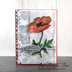 Penny Black Poppy Pattern Background Stamp