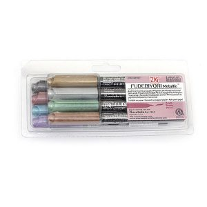 Kuretake Zig Fudebiyori Metallic Brush Pens, Set of 8 class=