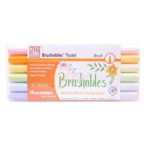 Kuretake Zig Brushables Pen Set of 6 - Pastel class=