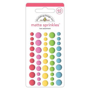 Doodlebug Sprinkles Adhesive Matte Enamel Dots -  Love Assortment