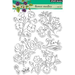 Penny Black Flower Medley Clear Stamp Set