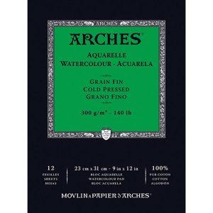 "Arches 9"" X 12"" Watercolor Cold Pressed Paper Pad"