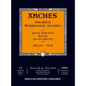 Arches 9″ x 12″ Watercolor Rough Paper Pad