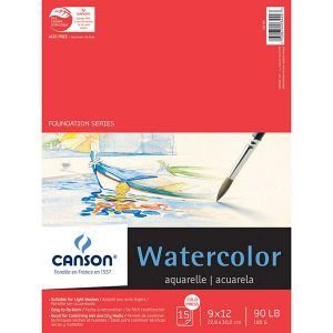 "Canson 9"" x 12"" Watercolor Cold Press Paper Pad - 90lb (185g)"