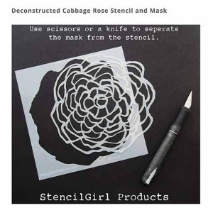 Stencil Girl Deconstructed Cabbage Rose Stencil and Mask class=