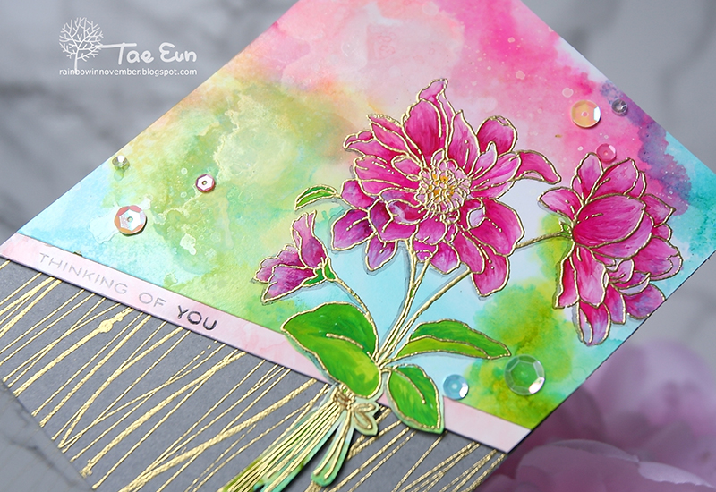 Pink & Gold Full of Glee card by TaeEun for The Foiled Fox