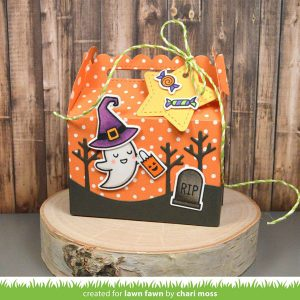 Lawn Fawn Scalloped Treat Box Haunted House Add-On class=
