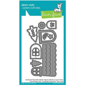 Lawn Fawn Scalloped Treat Box Winter House Add-on