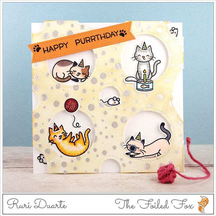 Happy Purrthday card by Ruri Duarte - The Foiled Fox