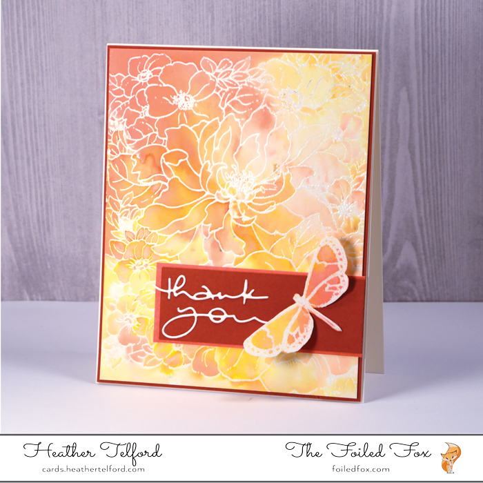 Gorgeous card created by Heather Telford for The Foiled Fox
