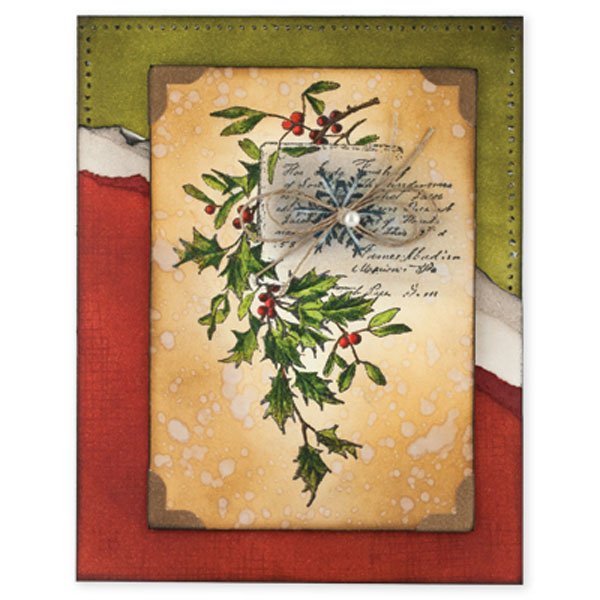 Penny Black Snowflake And Holly Mounted Rubber Stamp The