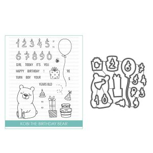 Studio Katia Kobi the Birthday Bear Stamp and Die Bundle