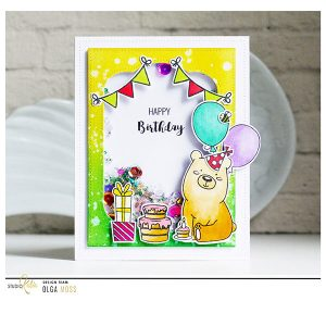 Studio Katia Kobi the Birthday Bear Stamp and Die Bundle class=