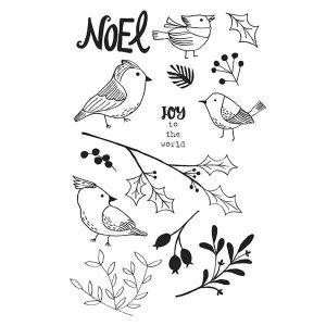 Flora & Fauna Winter Aviary Stamp Set class=