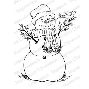 Impression Obsession Snowman with Bird Cling Stamp