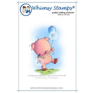 Whimsy Stamps Piggy Birthday Party Stamp