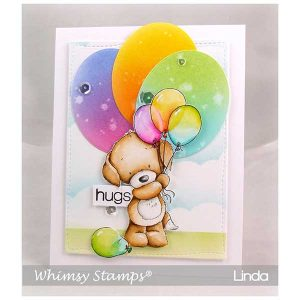Whimsy Stamps Puppy with Balloons Stamp class=