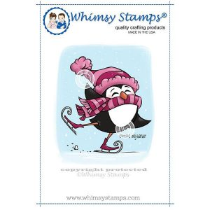 Whimsy Stamps Skating Penguin Stamp