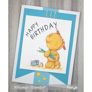 Whimsy Stamps Teddy Birthday Message Stamp class=