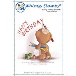Whimsy Stamps Teddy Birthday Message Stamp