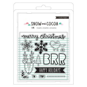 Snow & Cocoa Snowflakes, Animals, Words Stamp Set class=