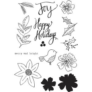 Flora & Fauna Floral Happy Holidays Stamp Set class=