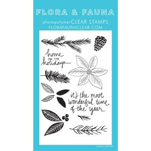 Flora & Fauna Poinsettia Watercolor Stamp Set